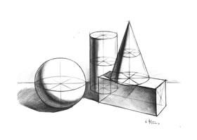四个几何体组合的结构素描表现步骤