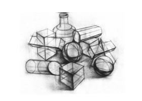 石膏几何形体的结构素描表现方法