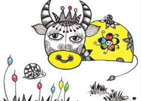 牛与蜗牛装饰画作画步骤