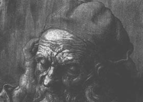 丢勒《老人的头像习作》速写作品