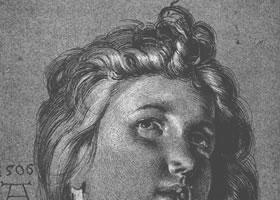丢勒《天使的头像》速写作品