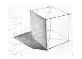 正方体结构素描画法