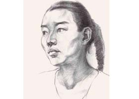 女青年头像结构素描画法