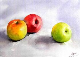 红苹果和绿苹果水彩画法