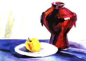 陶罐、盘子和苹果水粉画法