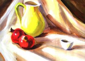 瓷瓶、石榴和瓷杯组合水粉画法