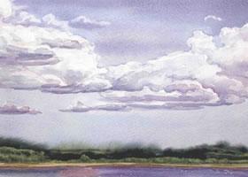 有白云的蓝天水彩画法步骤