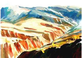 《黄土高原》水粉作画步骤图示