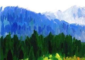 《茂密的山林》水粉画法步骤图示