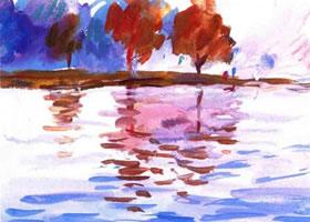 《微风中的湖面》水粉作画步骤图示