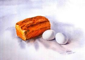 面包和鸡蛋水彩画法步骤图示