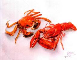 龙虾和螃蟹水彩画法步骤图示