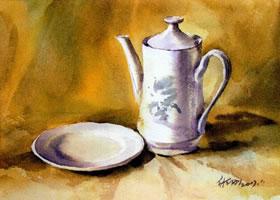 白色瓷盘与瓷壶水彩画法步骤图示