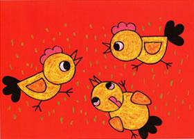 小鸡吃米蜡笔画步骤图示