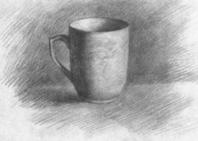 白色茶杯素描画法步骤图示