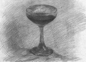 高脚玻璃酒杯素描画法步骤图示