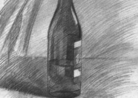 酒瓶的素描画法步骤图示