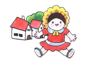 娃娃儿童水彩画法步骤图示