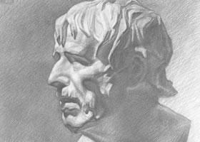 海盗石膏像素描画法步骤图示(二)