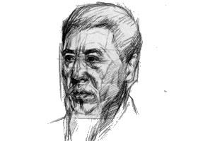 老年男子3/4侧面像素描训练步骤图示