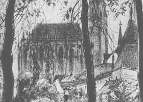门采尔《透过树林远眺爱尔福特大教堂》素描作品欣赏
