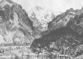 门采尔《远眺因特拉肯》素描作品欣赏