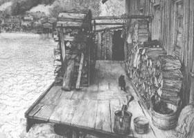 门采尔《水边的劈柴堆》素描作品欣赏