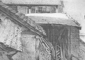 门采尔《农家院的房屋》素描作品欣赏