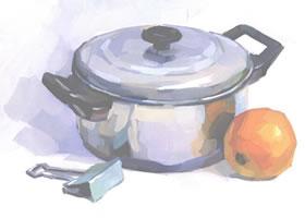 不锈钢锅与橙子、夹子的组合水粉画具体画法