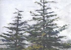 群树水彩画的写生步骤
