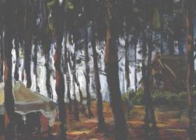 树林水彩画写生创作步骤