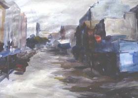 街道的水彩画写生创作步骤