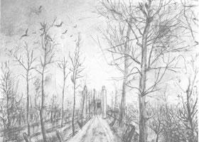梵高《车道》经典景物素描作品