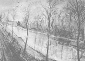 梵高《运河》经典景物素描作品