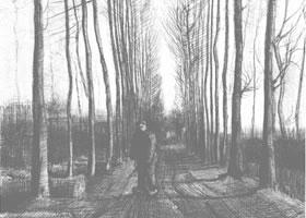 梵高《杨树林小道》经典景物素描