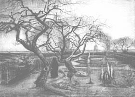 梵高《冬季花园》经典景物素描