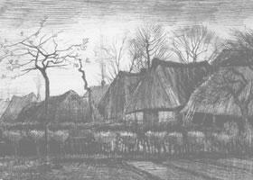 梵高《草屋》经典景物素描