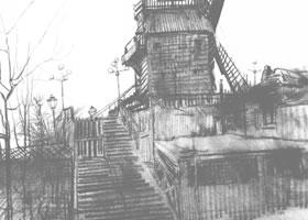 梵高《磨坊》经典景物素描