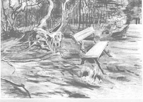 梵高《林中长椅》经典景物素描