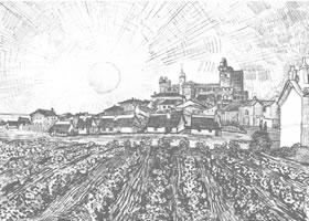 梵高《教堂和城墙》经典景物素描