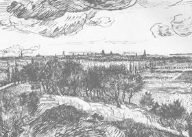 梵高《郊外风景》经典景物素描
