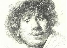 伦勃朗《自画像》经典素描欣赏