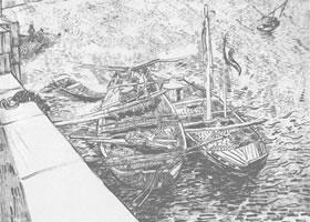 梵高《码头停靠的船》经典景物素描