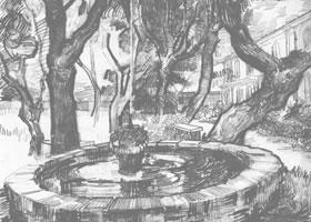 梵高《花园中的喷泉》经典景物素描