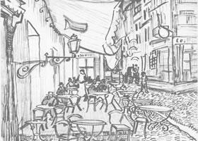 梵高《夜间咖啡馆》经典景物素描