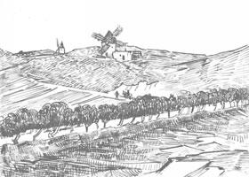 梵高《山上的风车》经典景物素描