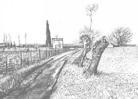 梵高《田野的小路》经典景物素描