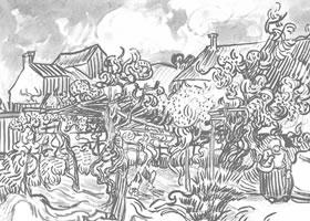 梵高《房前的葡萄架》经典景物素描