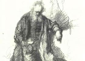 伦勃朗《喝醉酒的老者》经典素描