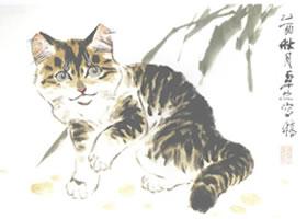 黄狸花猫小写意画法